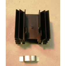 BLACK ANODIZED ALUMINUM HEAT SINK WITH CLIP.
